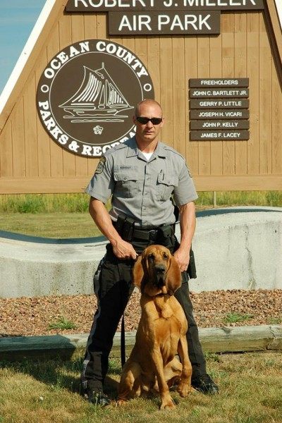 Ocean County Sheriff's Officer James Kohout and his K-9 blood hound Emmitt. (Photo: Ocean County Sheriff's Department)