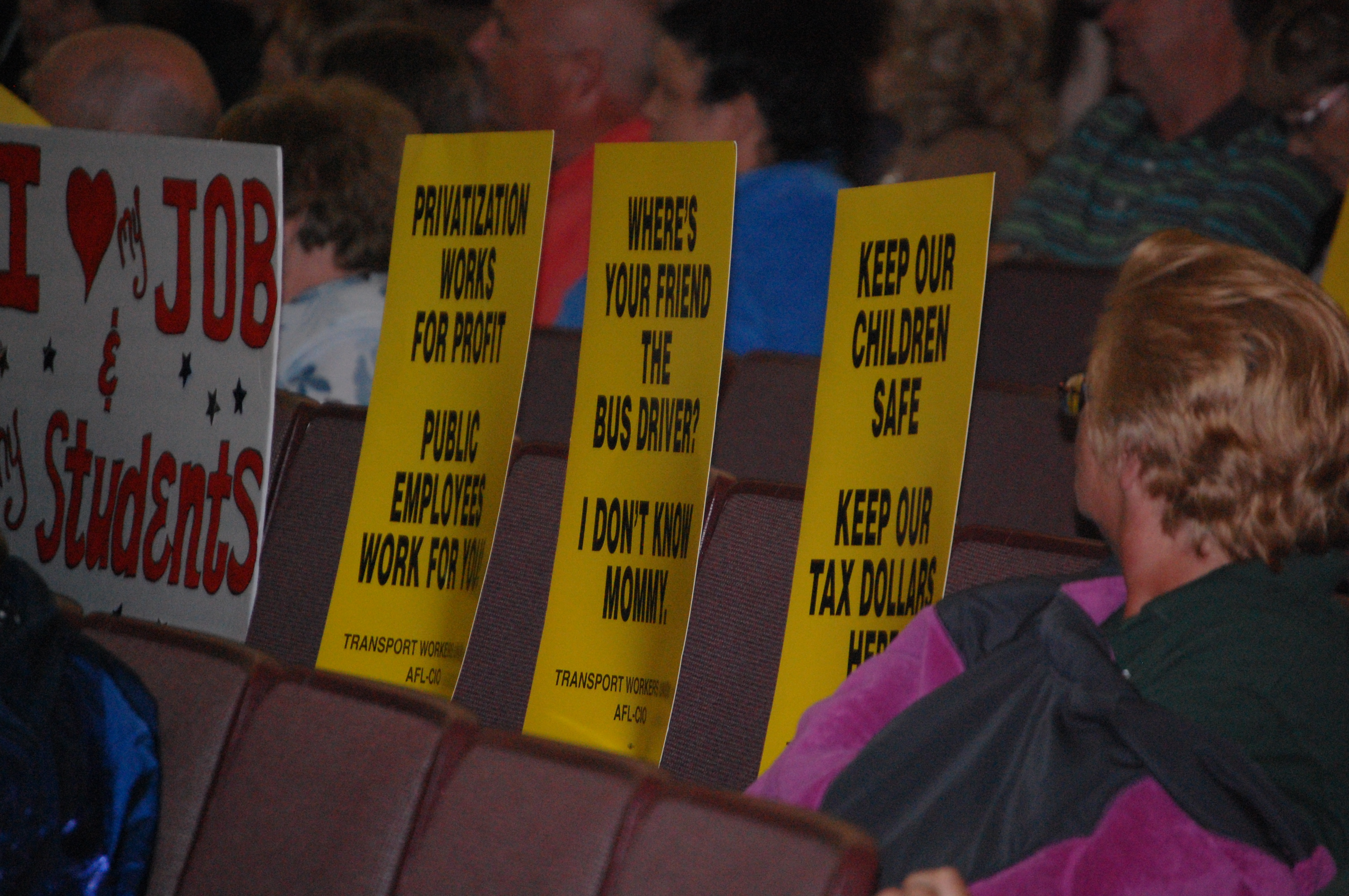 brick school board to reconsider bus driver layoff plan brick protest signs carried into a board of education meeting by brick township bus drivers