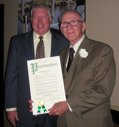 Mayor John G. Ducey of Brick presenting a proclamation to township historian Gene Donatiello (Photo: Brick Twp. Historical Society)