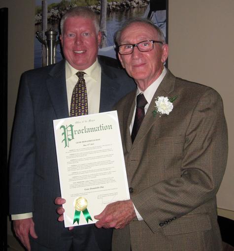 Mayor John G. Ducey of Brick presenting a proclamation to township historian Gene Donatiello (Photo: Brick Twp. Historical Society)
