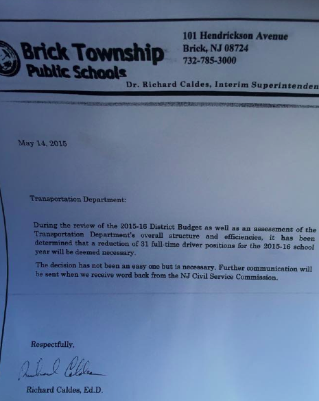 A  letter indicating cuts to Brick school bus drivers. (Supplied Photo)