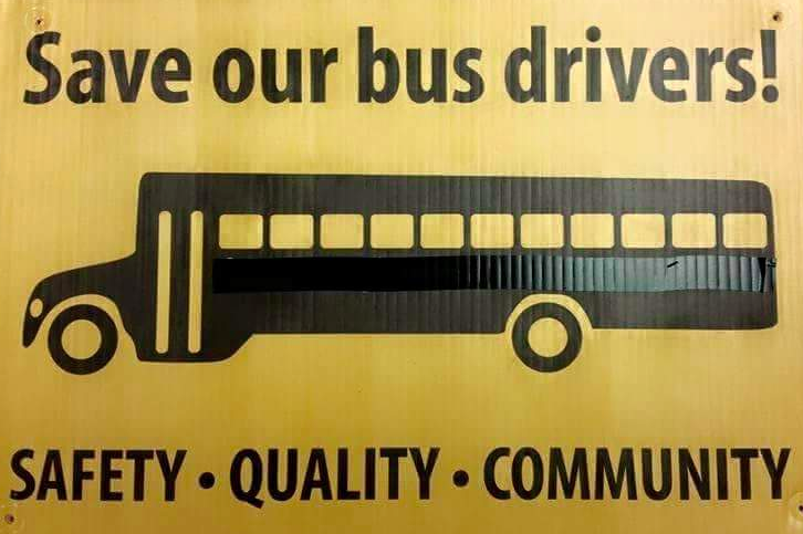 A sign opposes a plan to cut 31 full-time bus driver positions in Brick. (Supplied Photo)