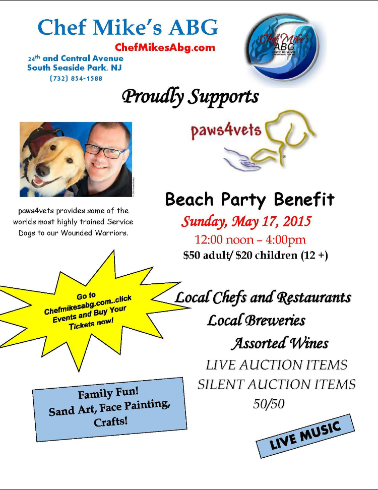 Paws4Vets Benefit Beach Party Information