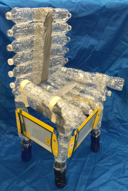 A chair made out of plastic water bottles. (Photo: Sarah Dunne, Veterans Memorial Middle School)