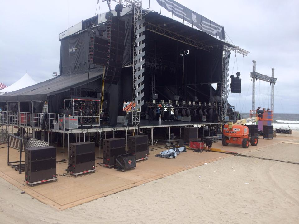 A stage set up at Grant Avenue for the Gentlemen of the Road tour in Seaside Heights.