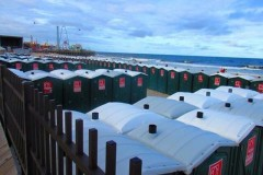 Portable toilets ready for use on the Seaside Heights beachfront.