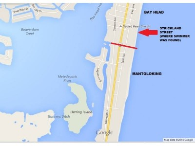 A map of where a victim died, and was later found, in Mantoloking and Bay Head. (Credit: Ocean County Prosecutor's Office)