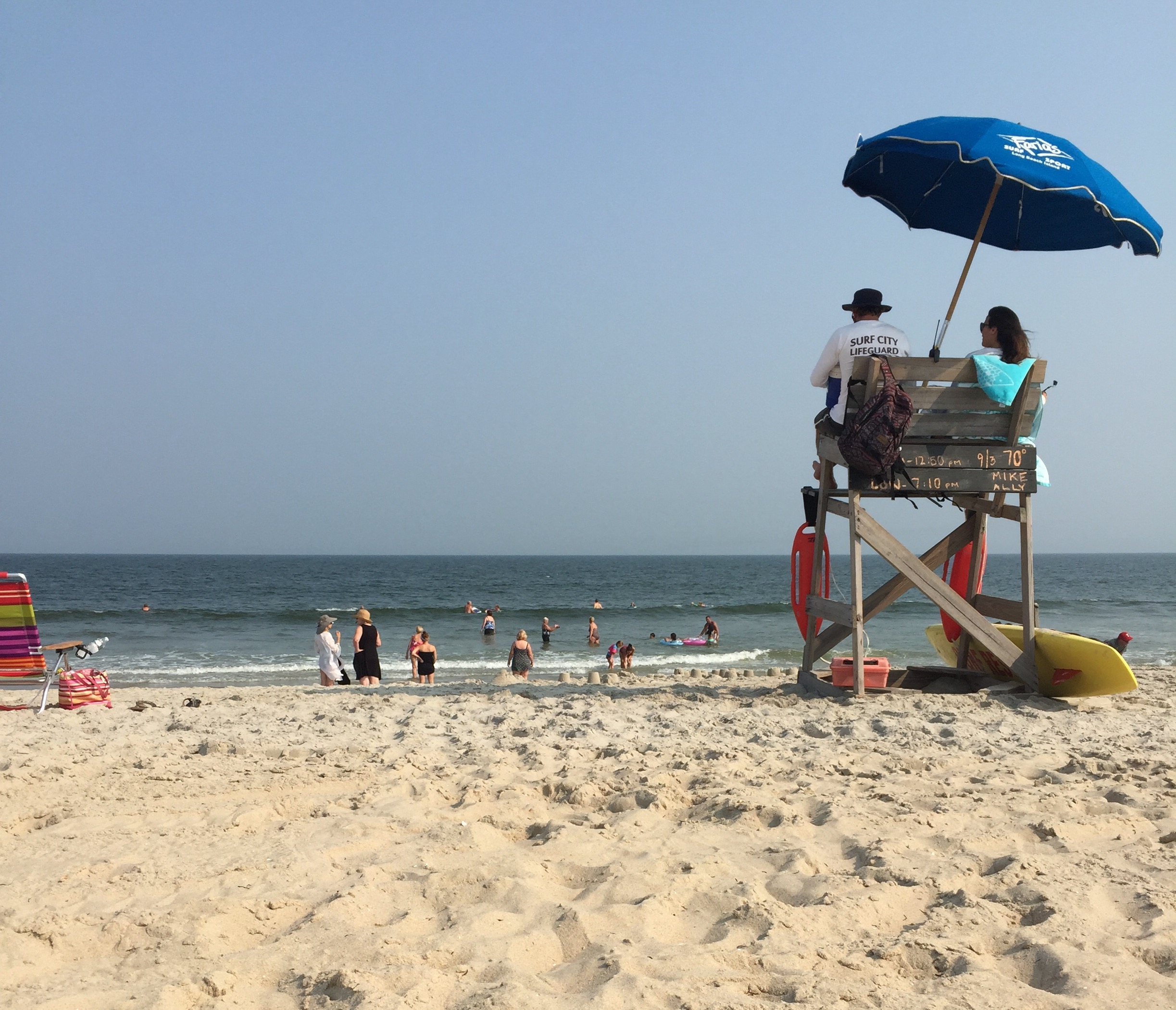 Lifeguards keep watch over an Ocean County beach, Sept. 3, 2015. (Photo: Daniel Nee)