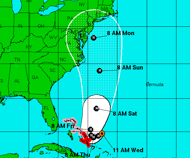 Hurricane Joaquin 11 a.m., Wednesday forecast. (Credit: NHC)