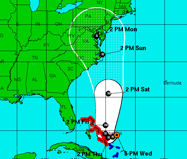 Forecast track for Hurricane Joaquin, 5 p.m., Sept. 30, 2015. (Credit: NHC)