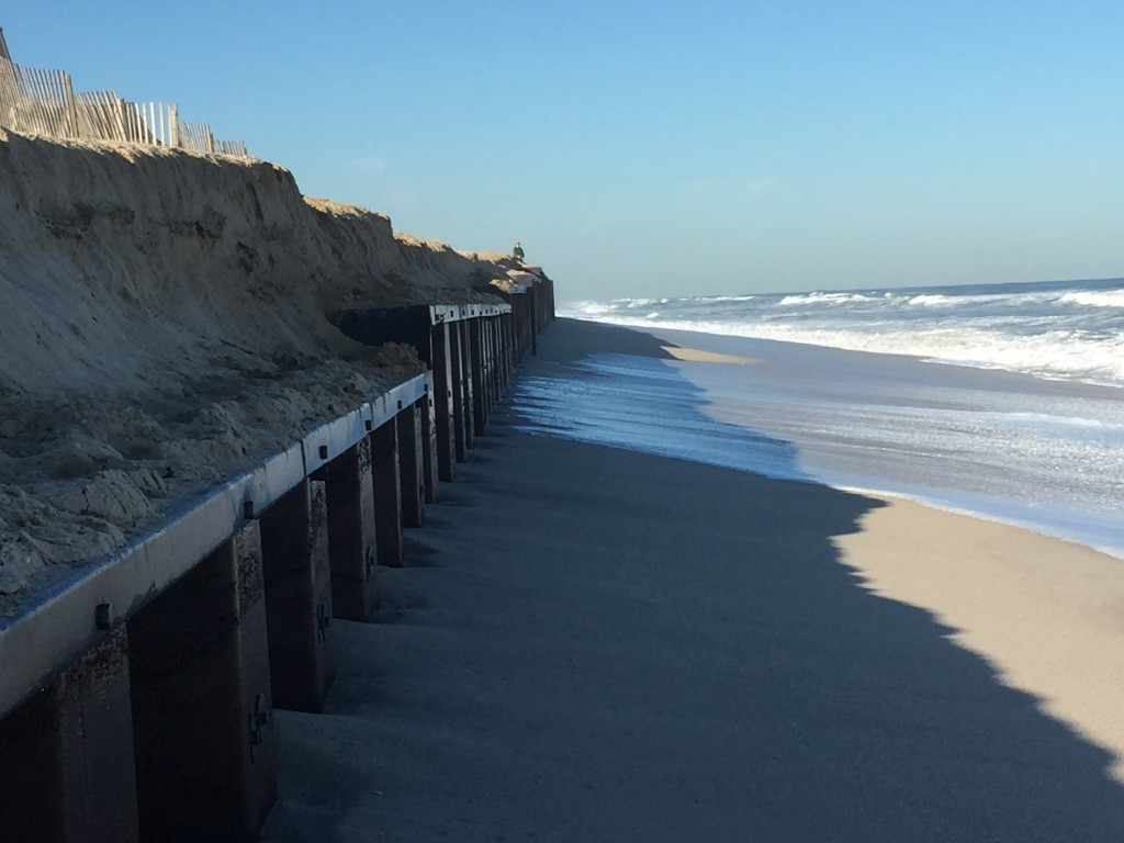 A steel sea wall along Brick's oceanfront after a nor'easter, Oct. 6, 2015. (Photo: Daniel Nee)