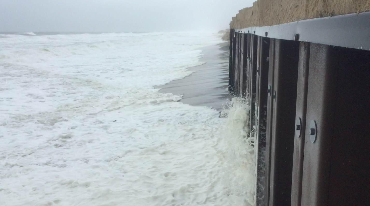 Waves lash against a sea wall in Brick Township, N.J.'s Normandy Beach section, Oct. 2, 2015. (Photo: Daniel Nee)