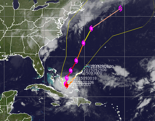The forecast path for Joaquin, Oct. 2, 2015. (Credit: CIMSS/Tropical)
