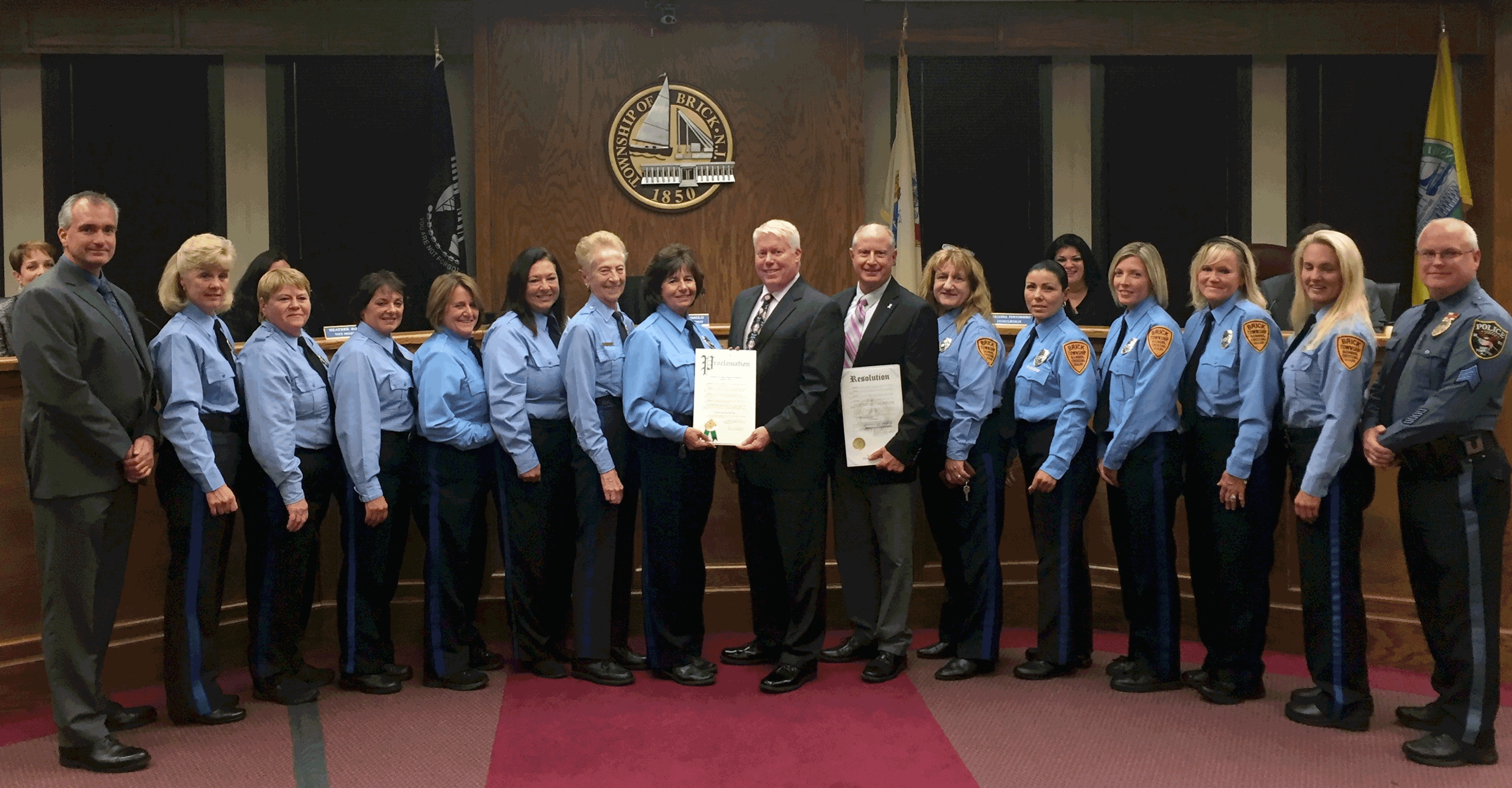 Brick's crossing guards are honored by township officials, Oct. 7, 2015. (Photo: Daniel Nee)