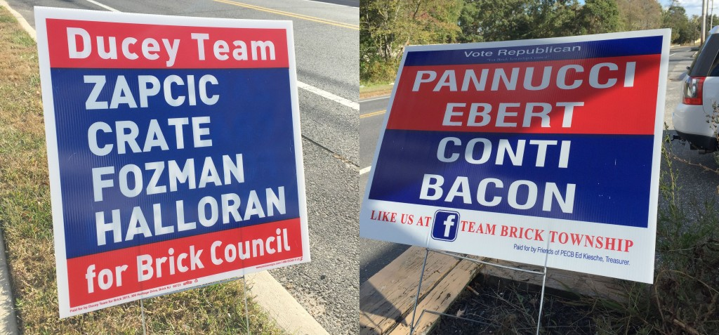 Campaign signs for the Democratic (left) and Republican candidates in Brick, 2015. (Photo: Daniel Nee)
