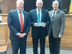 "Chief Nils R. Bergquist receives a ""Key to the Township"" (Photo: Brick Township)"
