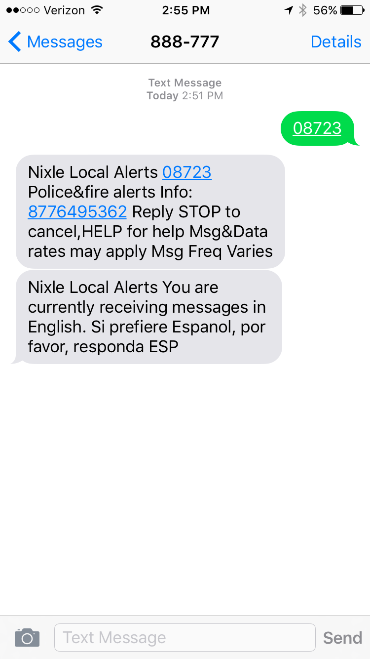 A screenshot of the Nixle signup in Brick.