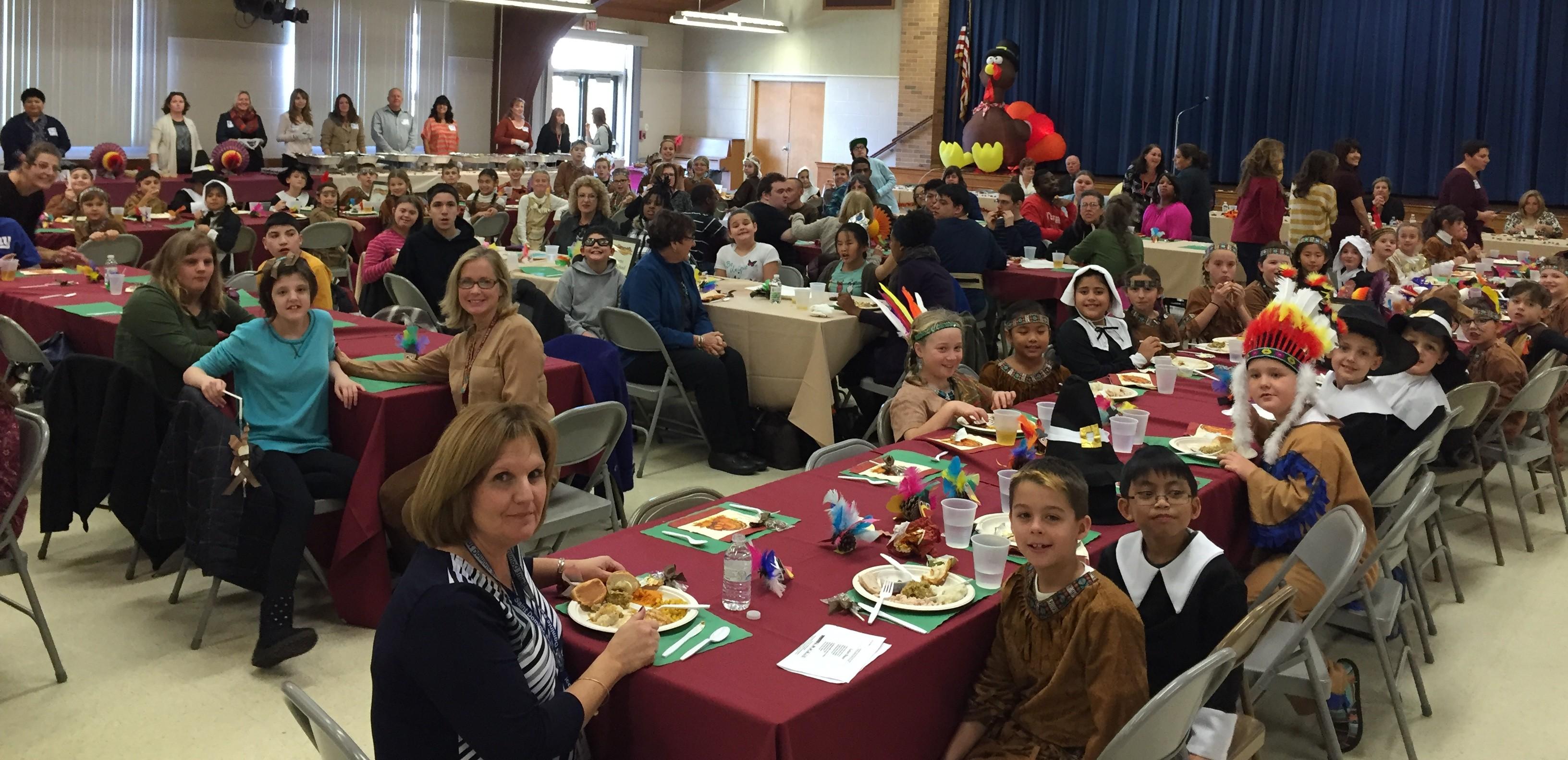 St. Dominic School, Brick, hosts a Thanksgiving feast, Nov. 23, 2015. (Photo: Daniel Nee)