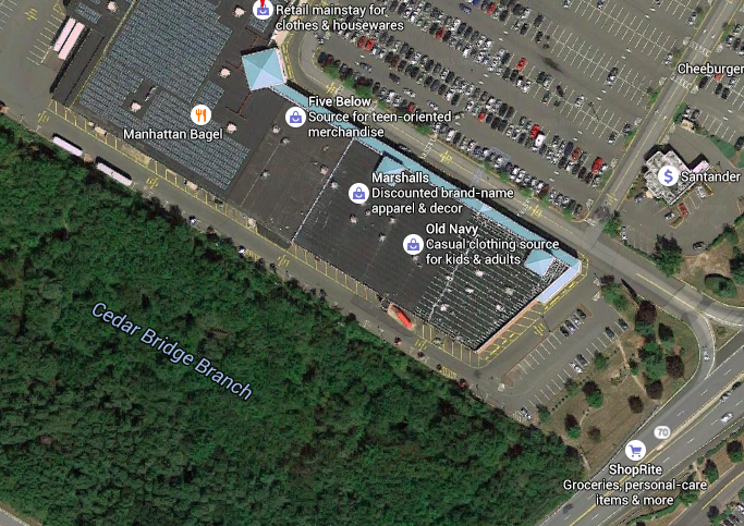 The diagonal edge of the easternmost building of the Kohl's shopping center would be squared off under a plan floated by the shopping center's owner. (Credit: Google Maps)