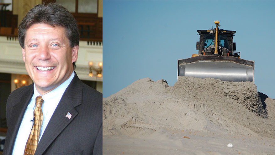 Assemblyman Jack McKeon (left) and an ongoing dune building project in Long Beach Island. (Dune Photo: Daniel Nee)