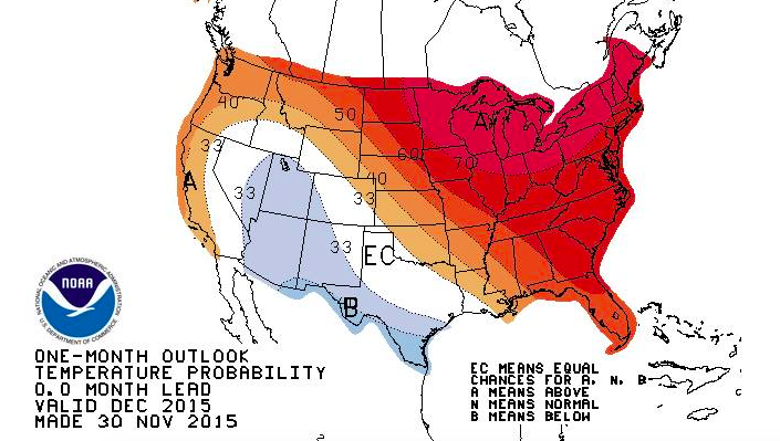 The December temperature forecast. (Credit: NWS)