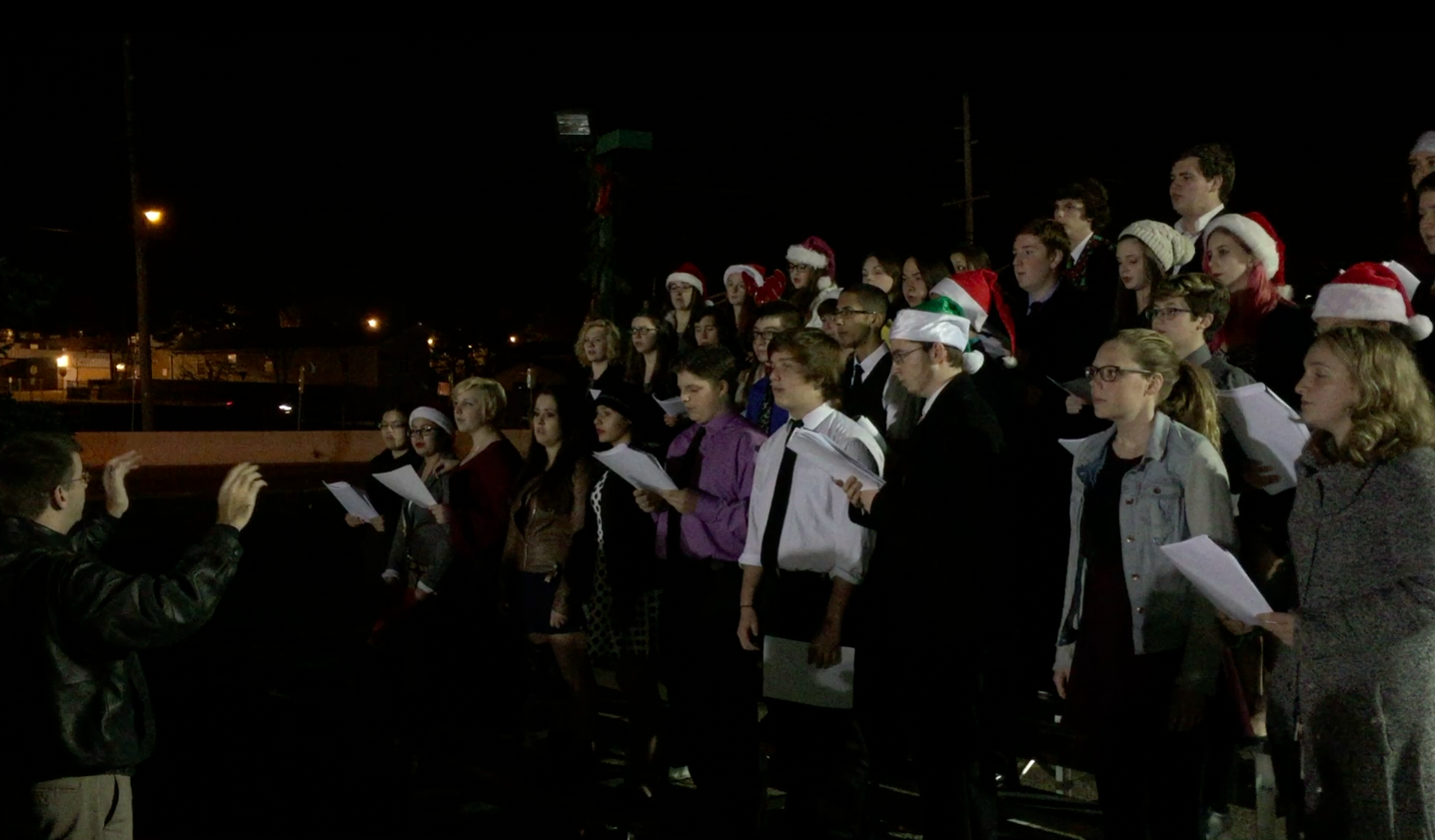 The Brick Memorial High School caroling choir performs at the annual township Christmas tree lighting. (Photo: Daniel Nee)