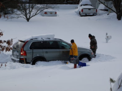 A car stuck on Point View Road in Brick, Dec. 27, 2010.
