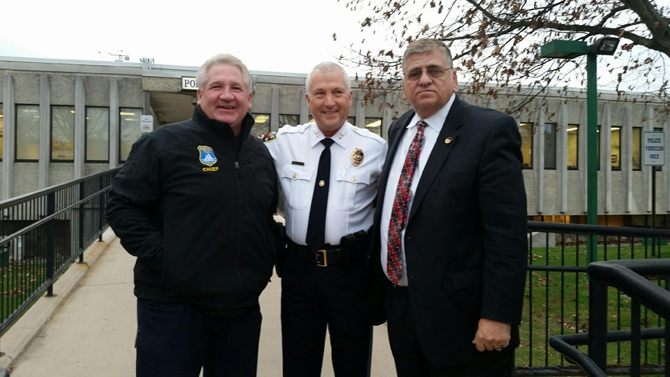 Chief Nils R. Bergquist, in front of the Brick Police HQ Monday, along with Seaside Heights Chief Thomas Boys (left) and Sheriff Michael Mastronardy (right).