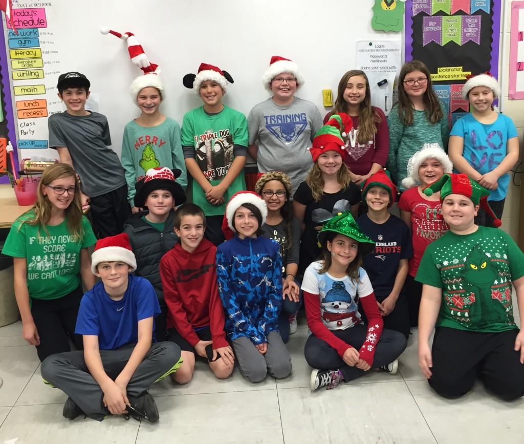 "Fifth graders at Midstreams Elementary School in their ""holiday hats"" to raise money to support returning veterans. (Submitted Photo)"