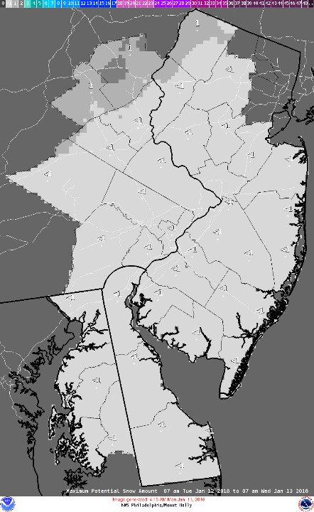 Potential snowfall Jan. 12-13, 2016. (Credit: NWS)