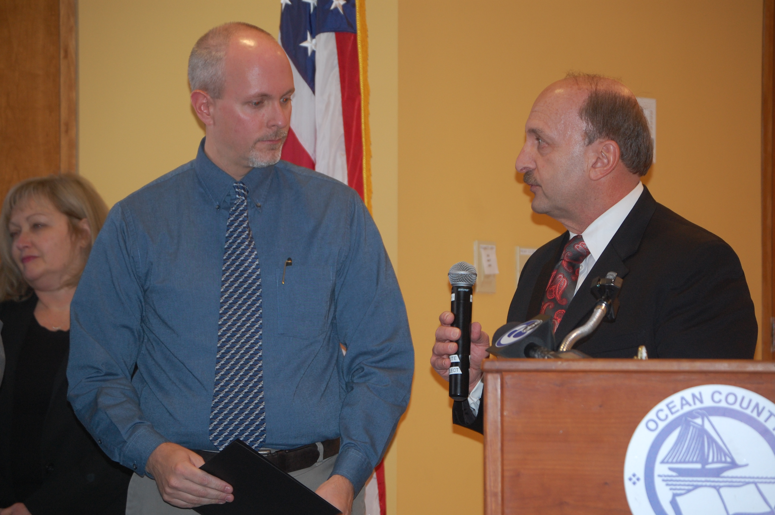 Ocean County Prosecutor Joseph D. Coronato introduces Dr. Kenneth Lavelle at a ceremony, Jan. 19, 2016. (Photo: Daniel Nee)