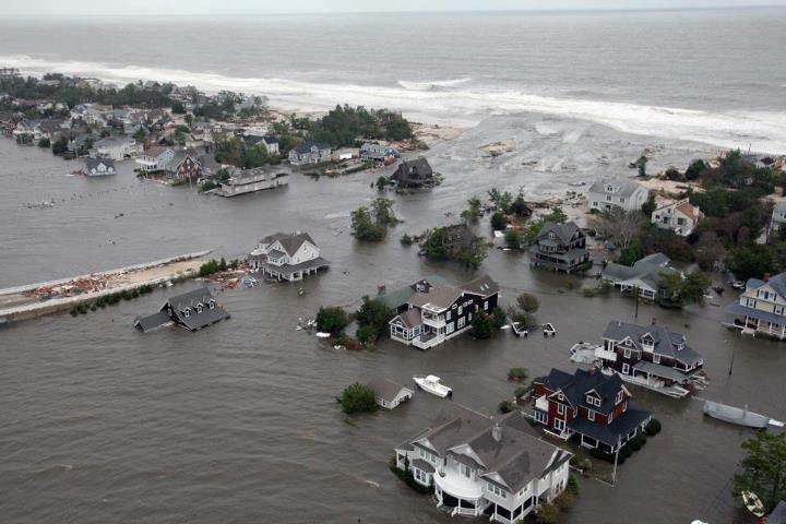 A breach in northern Ocean County's barrier island during Superstorm Sandy, Oct. 2012. (Credit: FEMA)