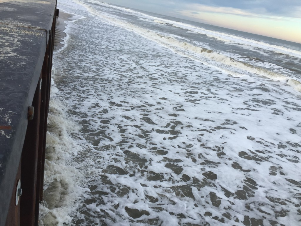 Brick's steel sea wall revetment following the Jan. 2016 nor'easter. (Photo: Daniel Nee)