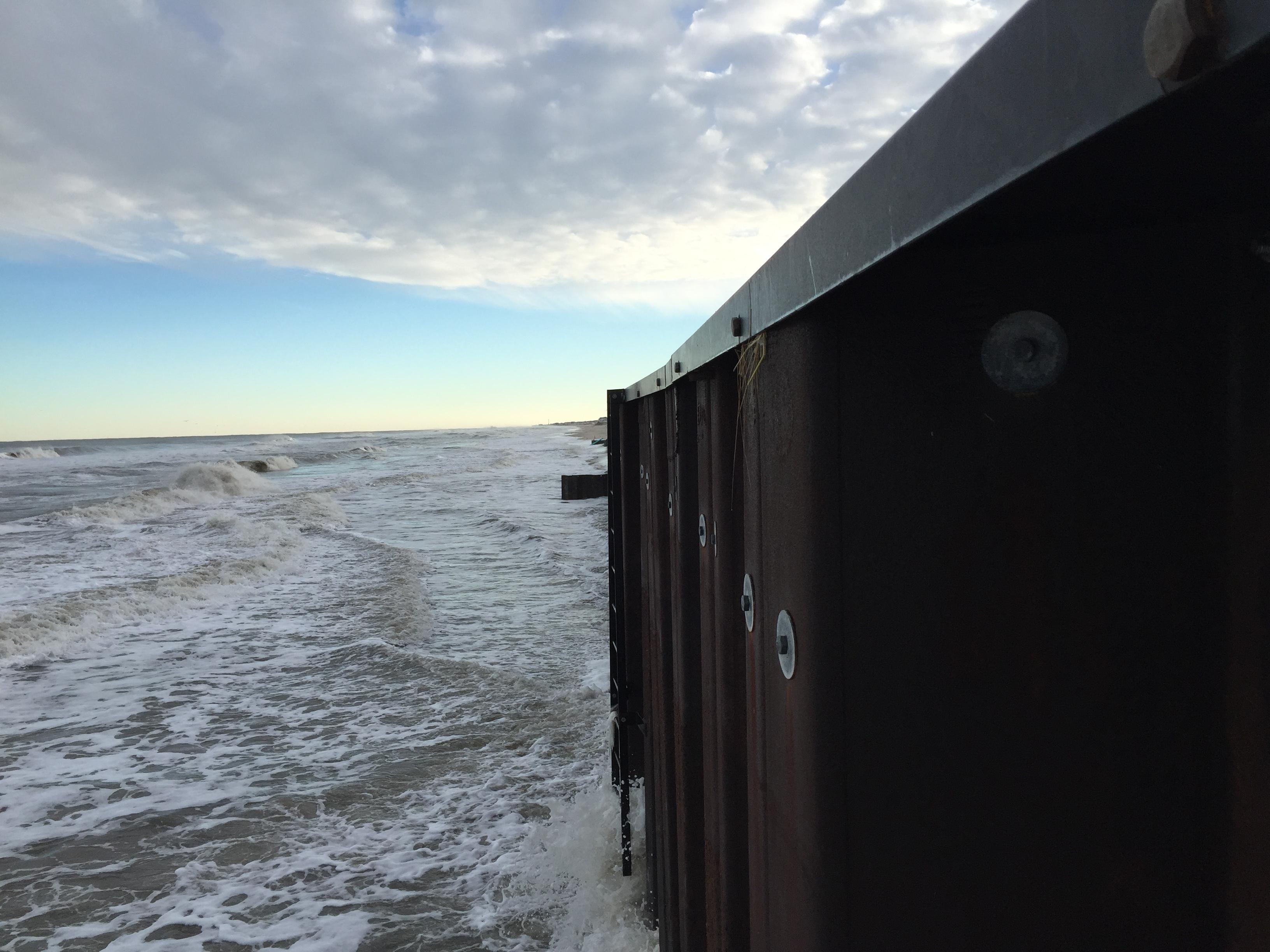 Brick's steel sea wall revetment following the Jan. 2016 nor'easter. (Photo: Daniel Nee)