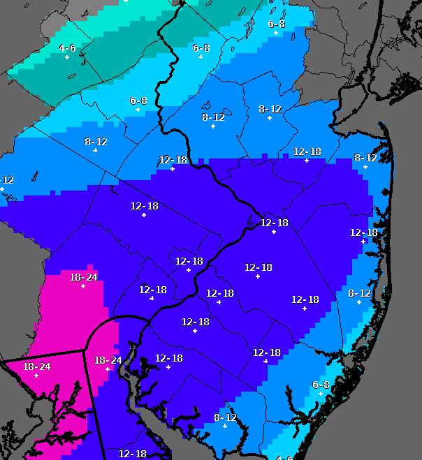 Snowfall totals, Jan. 22, 2015 (Credit: NWS)
