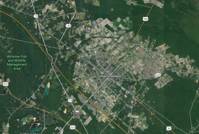 Hammonton, N.J., where a confirmed earthquake occurred Jan. 28, 2016. (Credit: Google Maps)