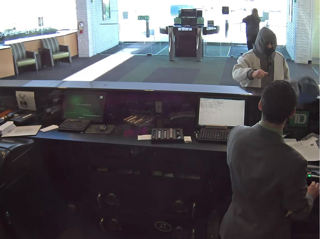 The suspect in a robbery of the TD Bank in Brick, Feb. 22, 2016. (Photo: Brick Twp. Police)