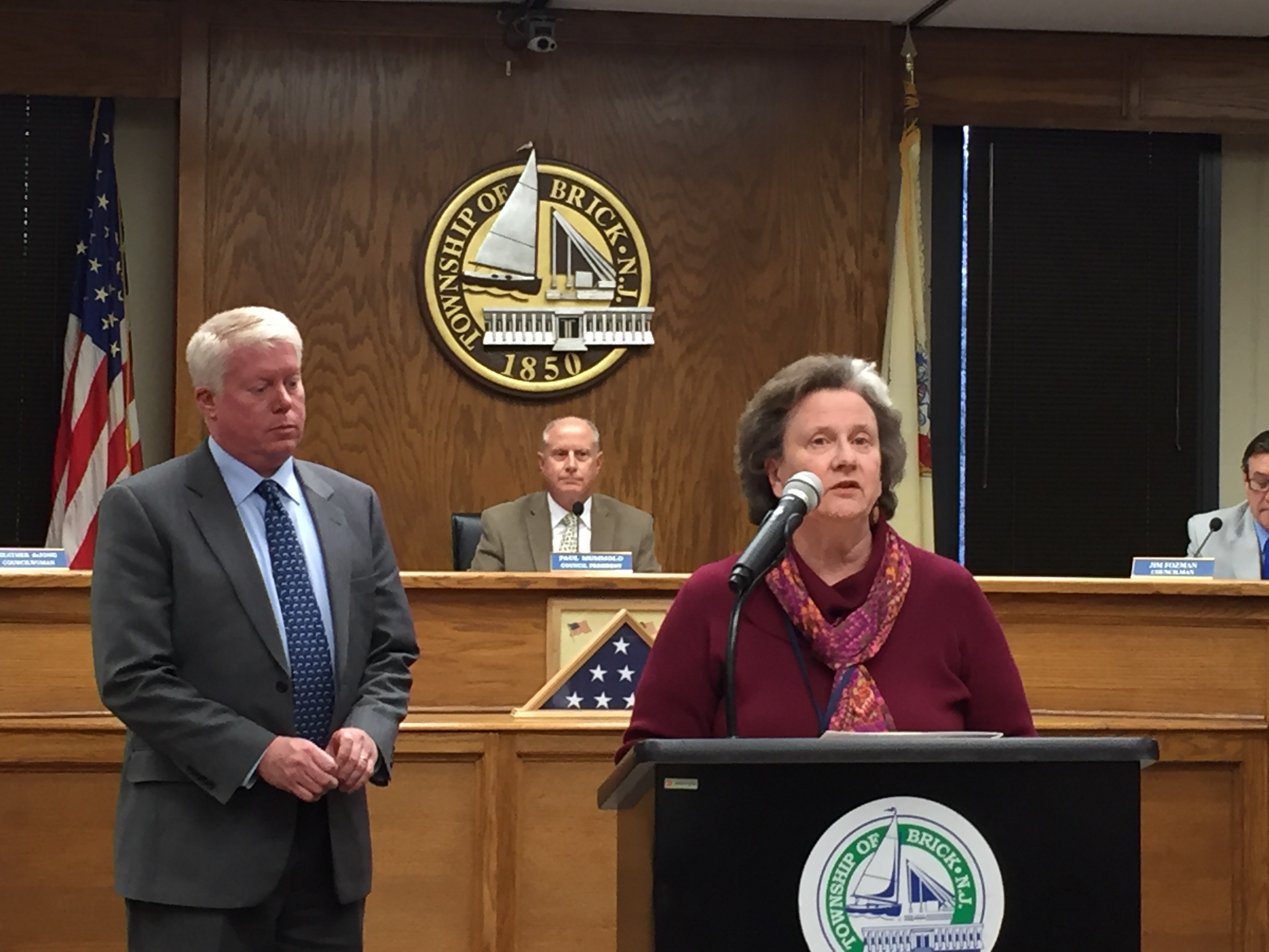 Brick Library Branch Manager Susan Gardiner, speaking at the April 5, 2016 Brick Township council meeting. (Photo: Daniel Nee)