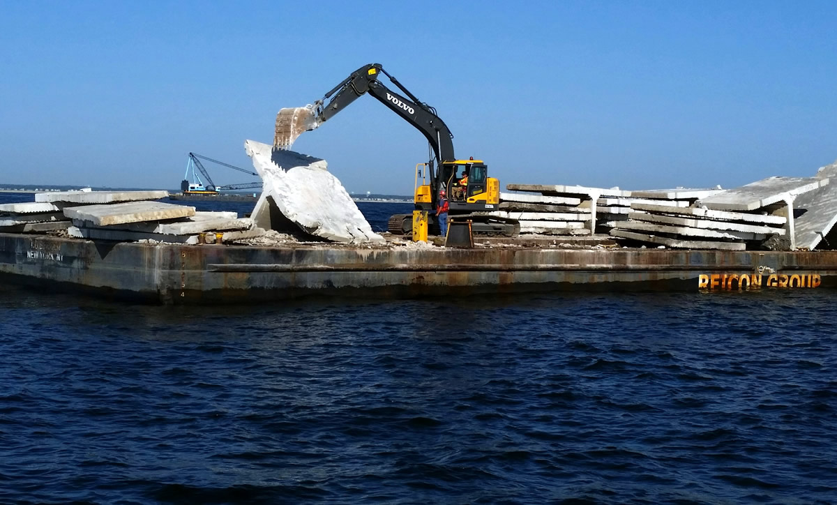 Concrete material being deployed to an artificial reef. (Photo: NJ Fish and Wildlife)