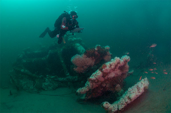 Diver Matt Lawrence hovers over paddlewheel of the Robert J. Walker Shipwreck 10 miles off Atlantic City. (Courtesy: NOAA & Joe Hoyt)