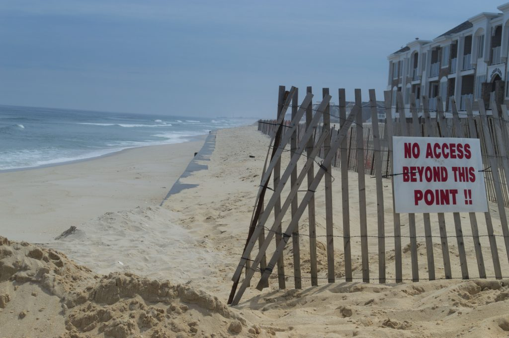 The beachfront is still off-limits near the Ocean Club condominiums, May 11, 2016. (Photo: Daniel Nee)