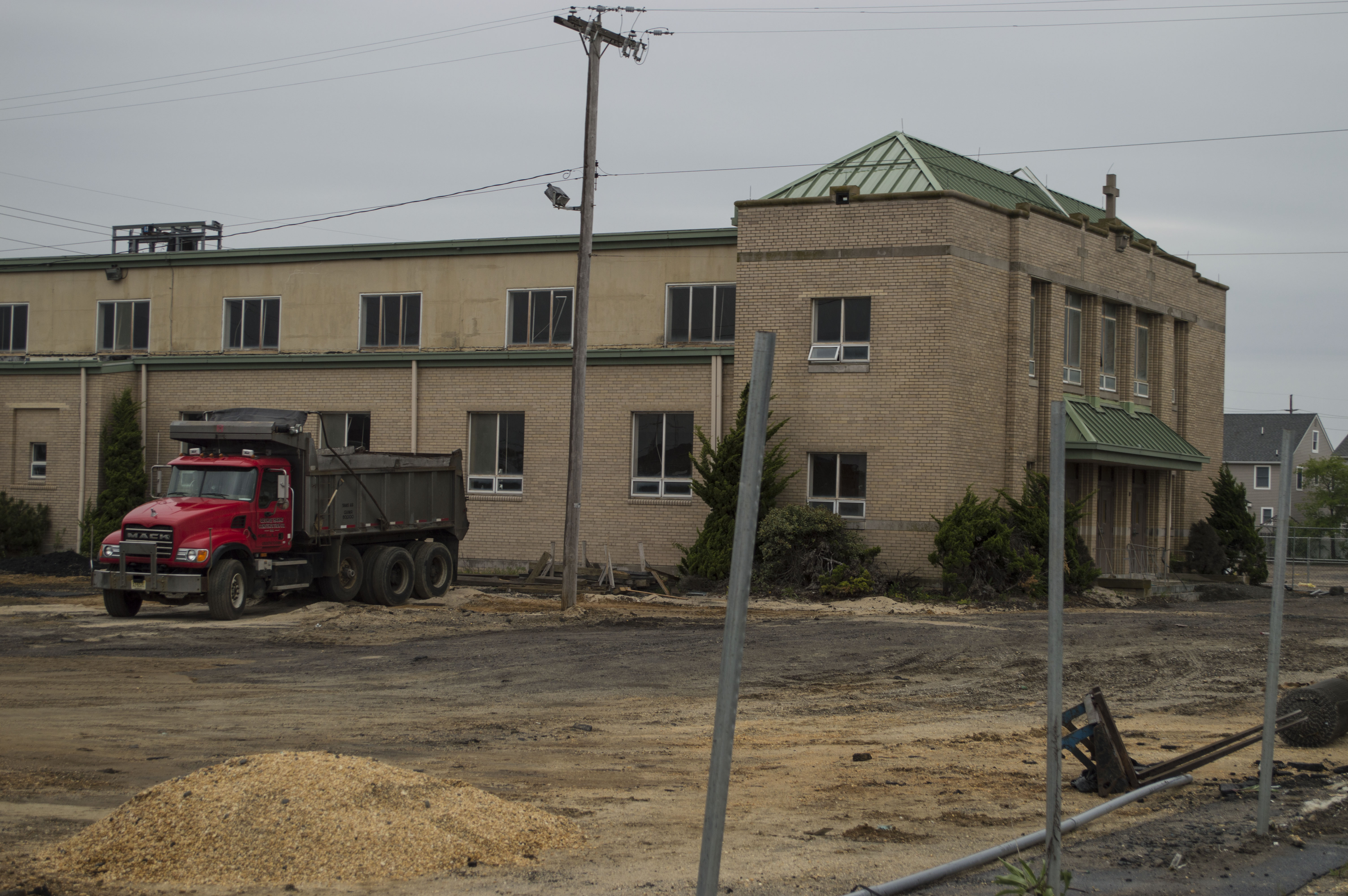 Demolition work underway at Our Lady of Peace church, Normandy Beach, Brick, NJ. (Photo: Daniel Nee)