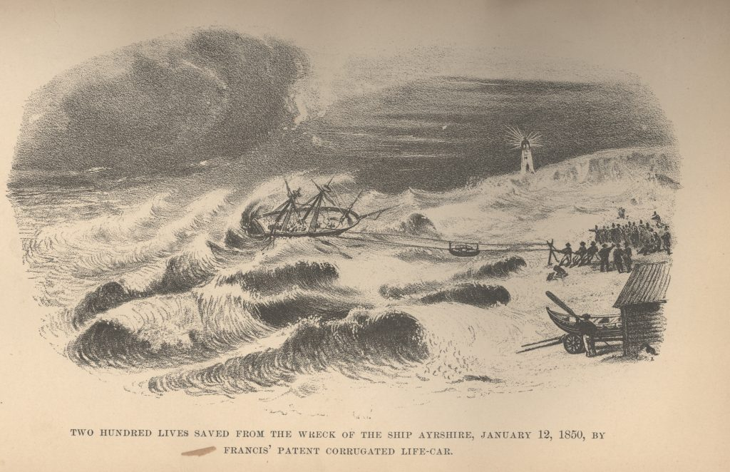 Drawing of the wrecking of the Ayrshire off Squan Beach. The image shows the Francis Life Car being used to rescue over 200 of the ships passengers. This was the first time this device was used. (Credit: NOAA)