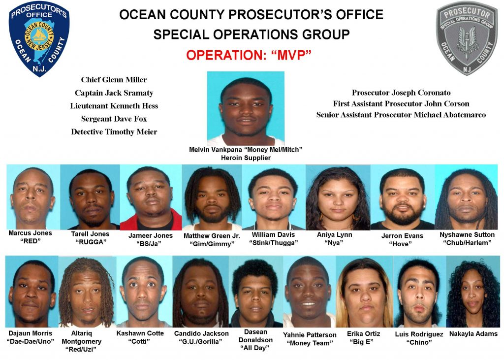 Suspects arrested in 'Operation MVP' by the Ocean County Prosecutor's Office. (Photo: Ocean County Prosecutor's Office)