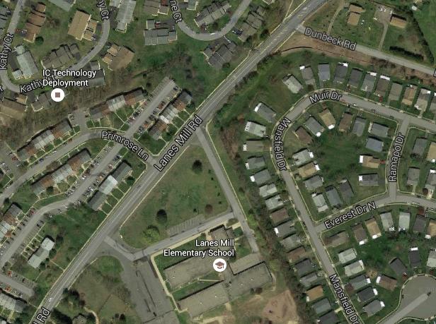 Roadways near Lanes Mill Elementary School. (Credit: Google Maps)