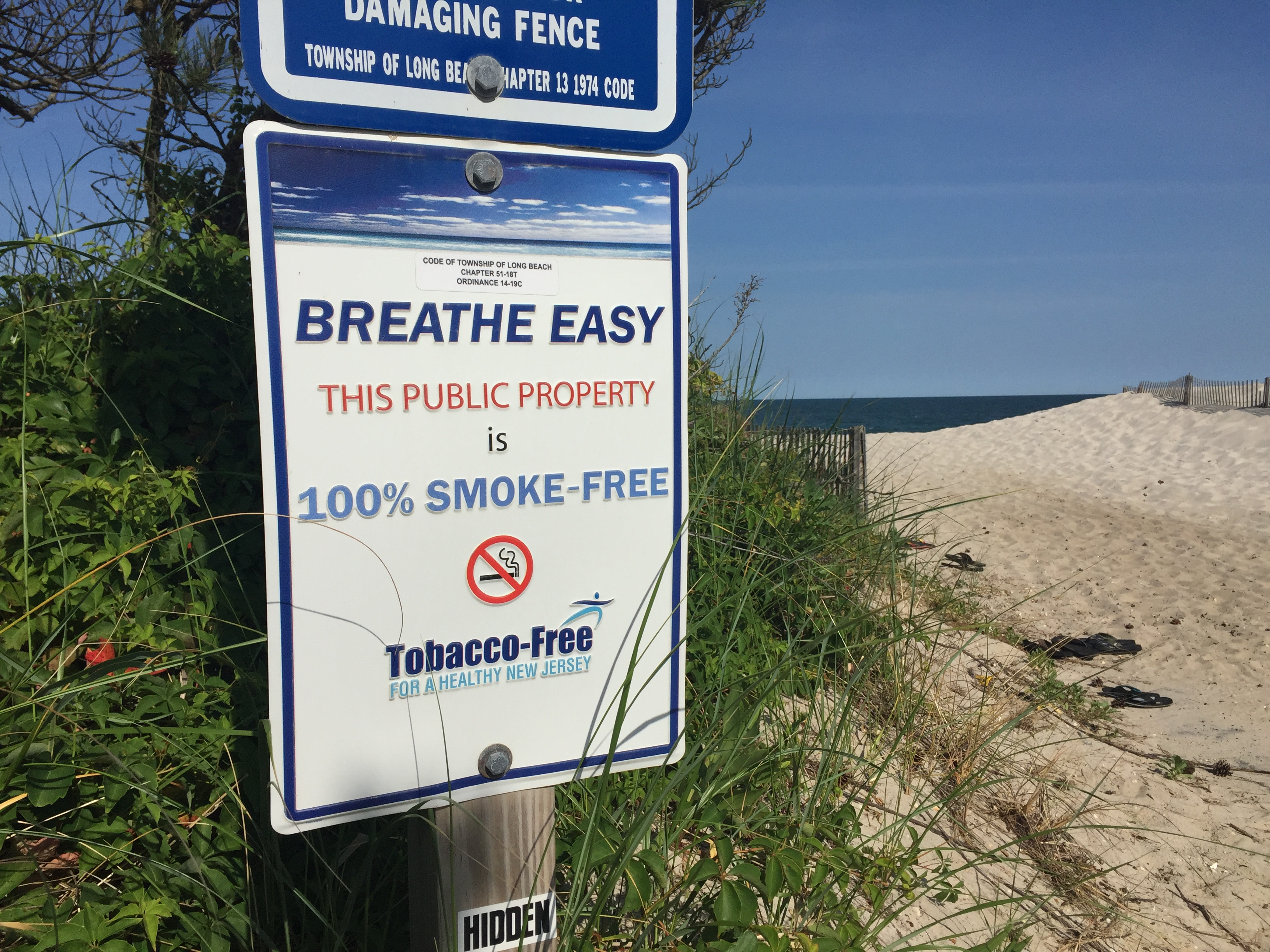 A 'No Smoking' sign on a New Jersey beach entrance. (Photo: Daniel Nee)
