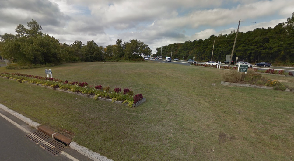 The Brick Garden Club's garden in the Route 70 median. (Credit: Google Earth)