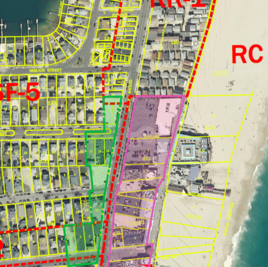 Point Pleasant Beach will now allow paid parking lots to operate in the area outlined in green. (Credit: Point Pleasant Beach Borough)