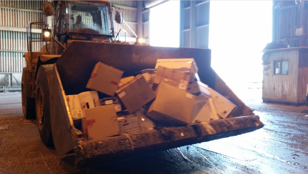 Thousands of pounds of unused prescription drugs being hauled away. (Photo: OCPO)