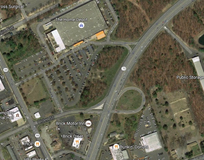 The intersection of Route 70 and Olden Street, Brick, N.J. (Credit: Google Maps)